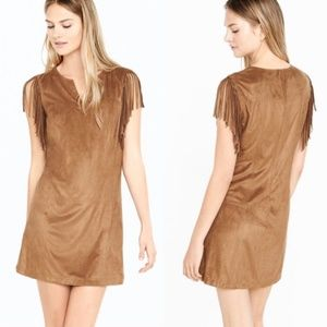 Express suede fringe boho dress